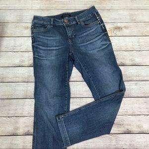 White House Black Market Slim Leg Jeans Rhinestone